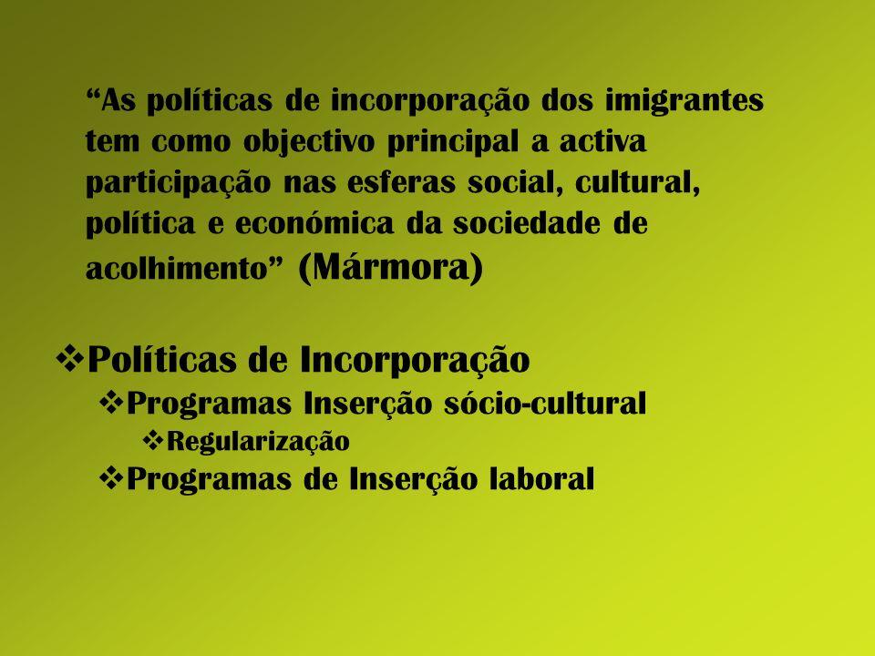 As políticas de incorporação dos imigrantes tem como objectivo principal a activa participação nas esferas social, cultural, política e económica da s