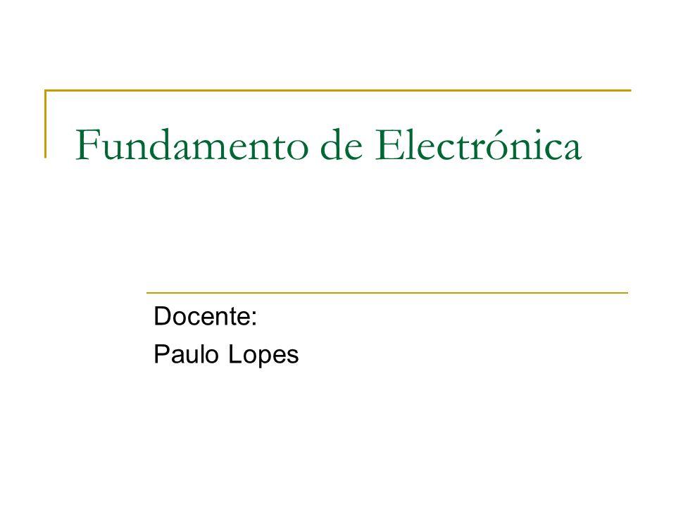 Fundamento de Electrónica Docente: Paulo Lopes