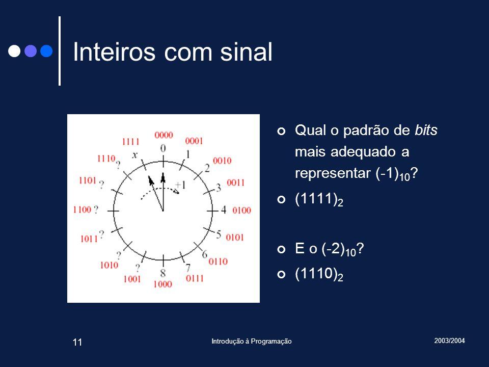 2003/2004 Introdução à Programação 11 Inteiros com sinal Qual o padrão de bits mais adequado a representar (-1) 10 ? (1111) 2 E o (-2) 10 ? (1110) 2