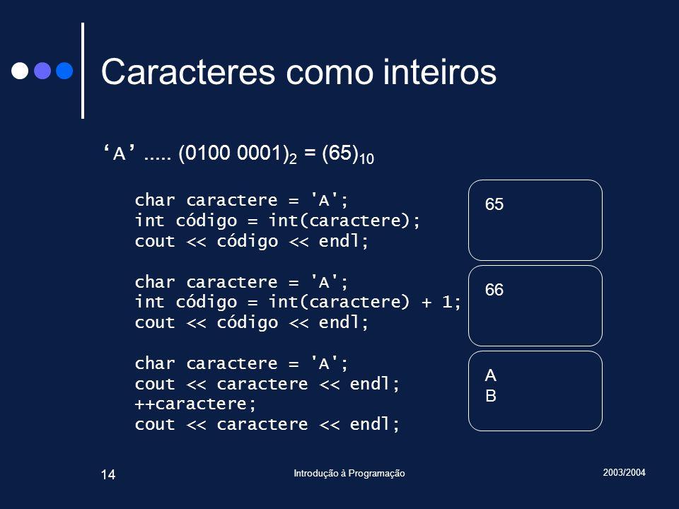 2003/2004 Introdução à Programação 14 Caracteres como inteiros A..... (0100 0001) 2 = (65) 10 char caractere = 'A'; int código = int(caractere); cout