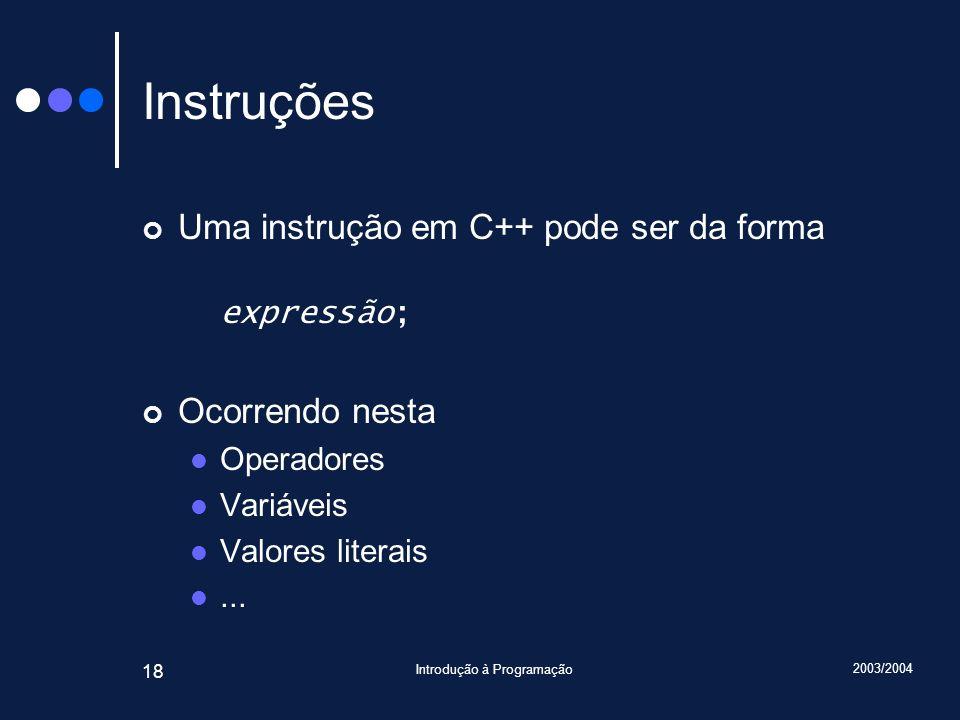 2003/2004 Introdução à Programação 18 Instruções Uma instrução em C++ pode ser da forma expressão; Ocorrendo nesta Operadores Variáveis Valores litera