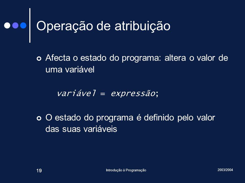 2003/2004 Introdução à Programação 19 Operação de atribuição Afecta o estado do programa: altera o valor de uma variável variável = expressão; O estad