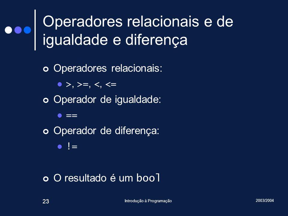 2003/2004 Introdução à Programação 23 Operadores relacionais e de igualdade e diferença Operadores relacionais: >, >=, <, <= Operador de igualdade: ==