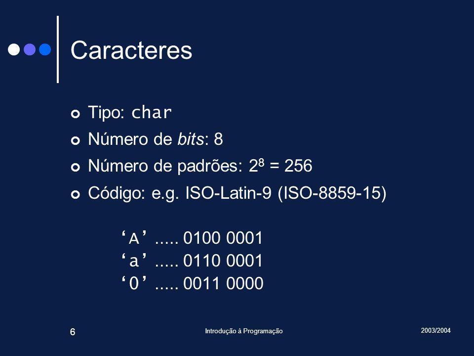 2003/2004 Introdução à Programação 6 Caracteres Tipo: char Número de bits: 8 Número de padrões: 2 8 = 256 Código: e.g. ISO-Latin-9 (ISO-8859-15) A....