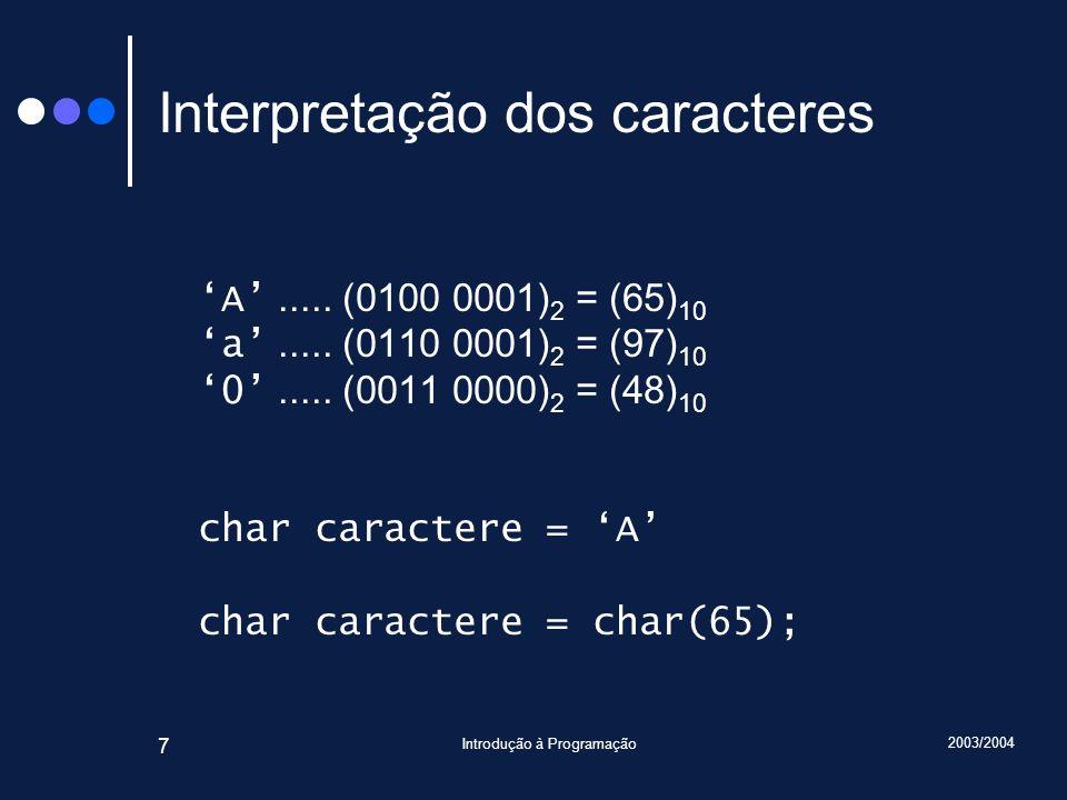 2003/2004 Introdução à Programação 8 Inteiros Tipo: int Número de bits: 32 (normalmente) Para simplificar, vamos assumir que têm apenas 4 bits Número de valores diferentes: 2 4 = 16 Se não representarem valores negativos: 0 a 2 4 -1