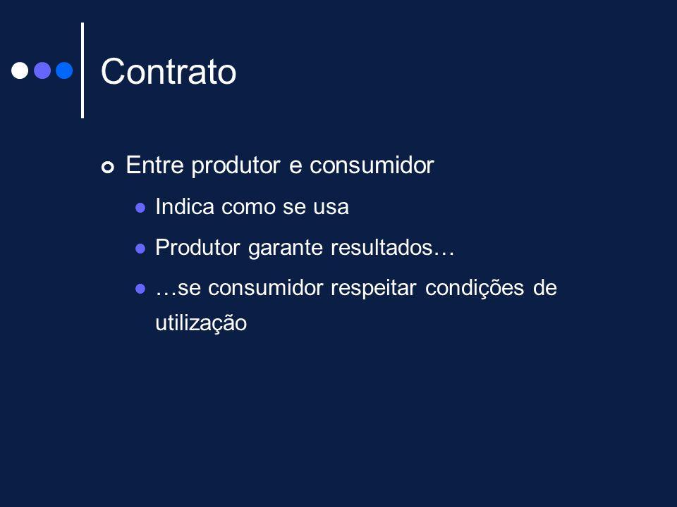 Contrato Entre produtor e consumidor Indica como se usa Produtor garante resultados… …se consumidor respeitar condições de utilização