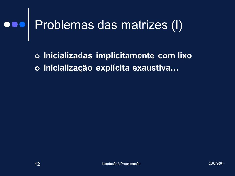 2003/2004 Introdução à Programação 12 Problemas das matrizes (I) Inicializadas implicitamente com lixo Inicialização explícita exaustiva…