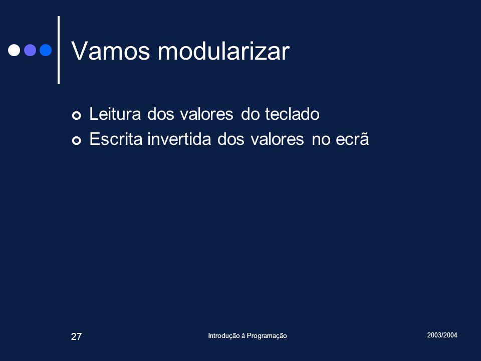 2003/2004 Introdução à Programação 27 Vamos modularizar Leitura dos valores do teclado Escrita invertida dos valores no ecrã
