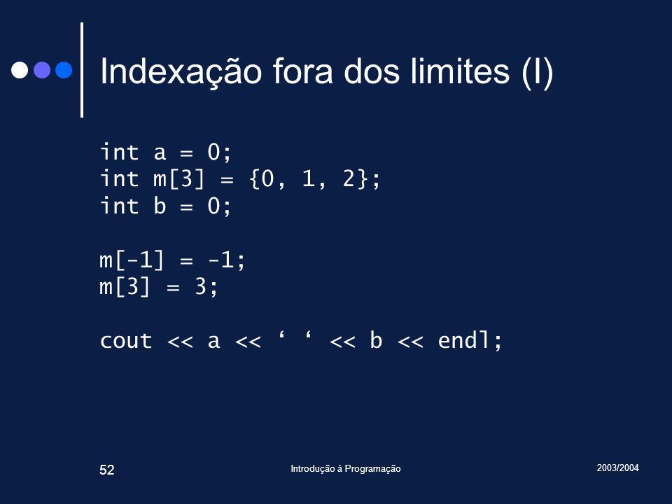 2003/2004 Introdução à Programação 52 Indexação fora dos limites (I) int a = 0; int m[3] = {0, 1, 2}; int b = 0; m[-1] = -1; m[3] = 3; cout << a << <<