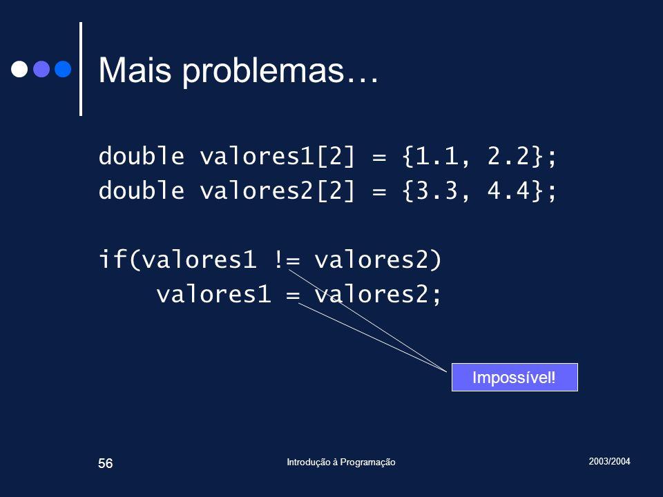 2003/2004 Introdução à Programação 56 Mais problemas… double valores1[2] = {1.1, 2.2}; double valores2[2] = {3.3, 4.4}; if(valores1 != valores2) valor