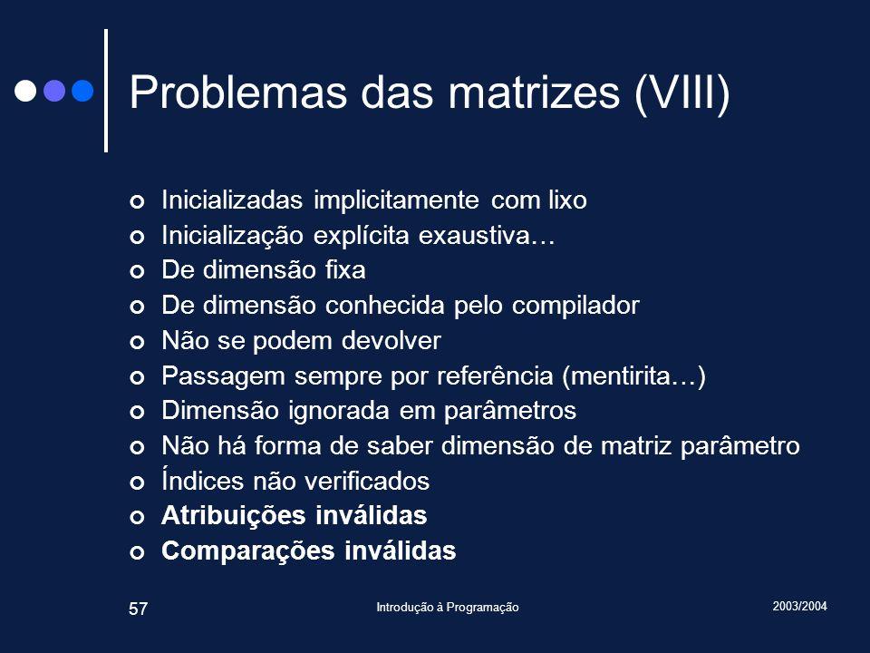 2003/2004 Introdução à Programação 57 Problemas das matrizes (VIII) Inicializadas implicitamente com lixo Inicialização explícita exaustiva… De dimens