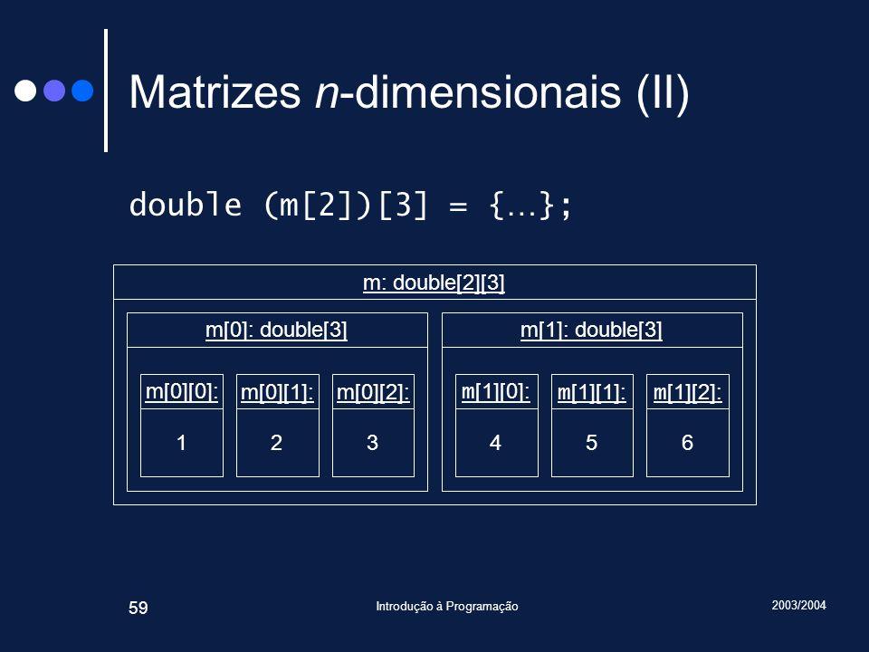2003/2004 Introdução à Programação 59 Matrizes n-dimensionais (II) double (m[2])[3] = { … }; m[0][0]: 1 m[0]: double[3] m[0][1]: 2 m[0][2]: 3 m [1][0]