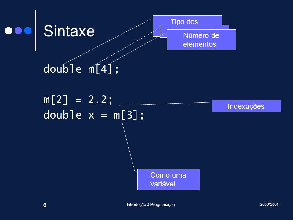 2003/2004 Introdução à Programação 6 Sintaxe double m[4]; m[2] = 2.2; double x = m[3]; Tipo dos elementos Nome da matriz Número de elementos Indexaçõe