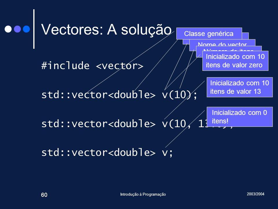 2003/2004 Introdução à Programação 60 Vectores: A solução #include std::vector v(10); std::vector v(10, 13.0); std::vector v; Tipo dos itens Nome do v