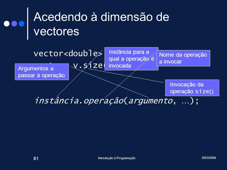 2003/2004 Introdução à Programação 61 Acedendo à dimensão de vectores vector v(10, 13.0); cout << v.size() << endl; instância.operação(argumento, … );