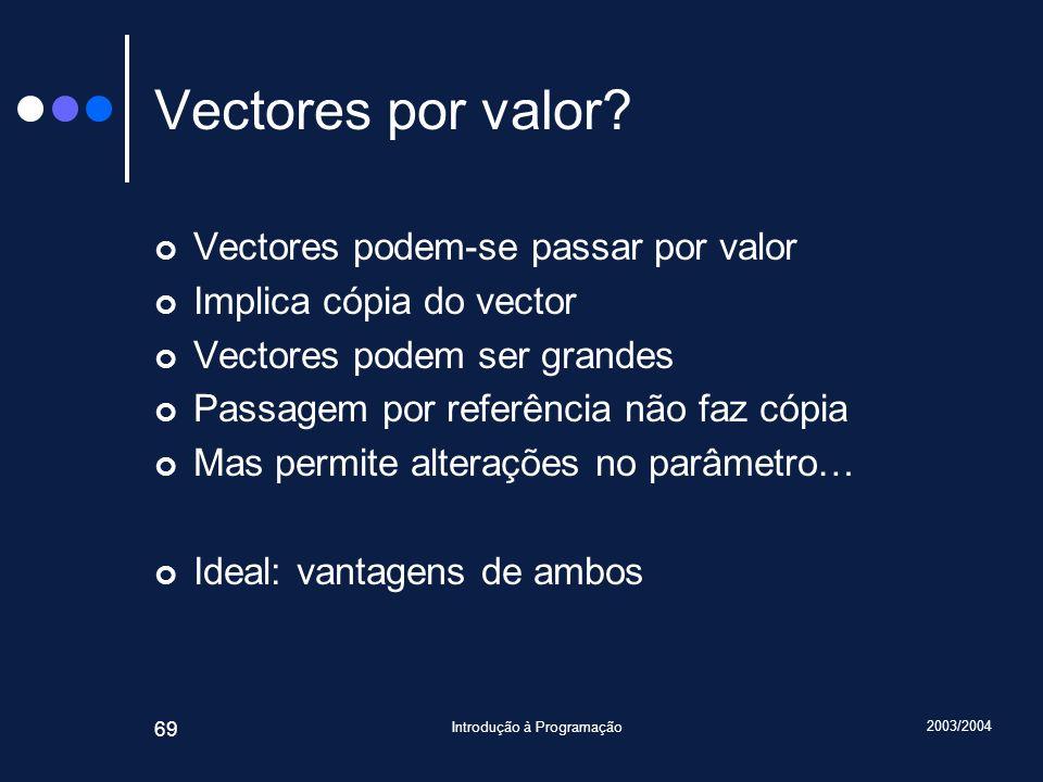2003/2004 Introdução à Programação 69 Vectores por valor? Vectores podem-se passar por valor Implica cópia do vector Vectores podem ser grandes Passag