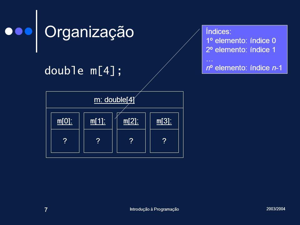 2003/2004 Introdução à Programação 7 Organização double m[4]; m [0]: ? m: double[4] m [1]: ? m [2]: ? m [3]: ? Índices: 1º elemento: índice 0 2º eleme