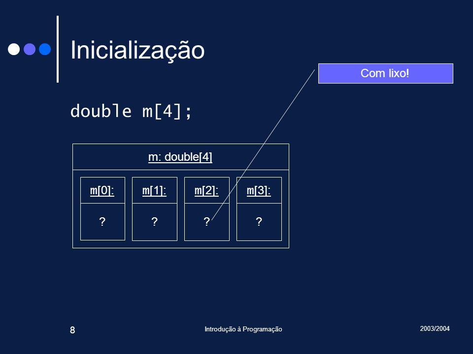 2003/2004 Introdução à Programação 8 Inicialização double m[4]; Com lixo! m [0]: ? m: double[4] m [1]: ? m [2]: ? m [3]: ?