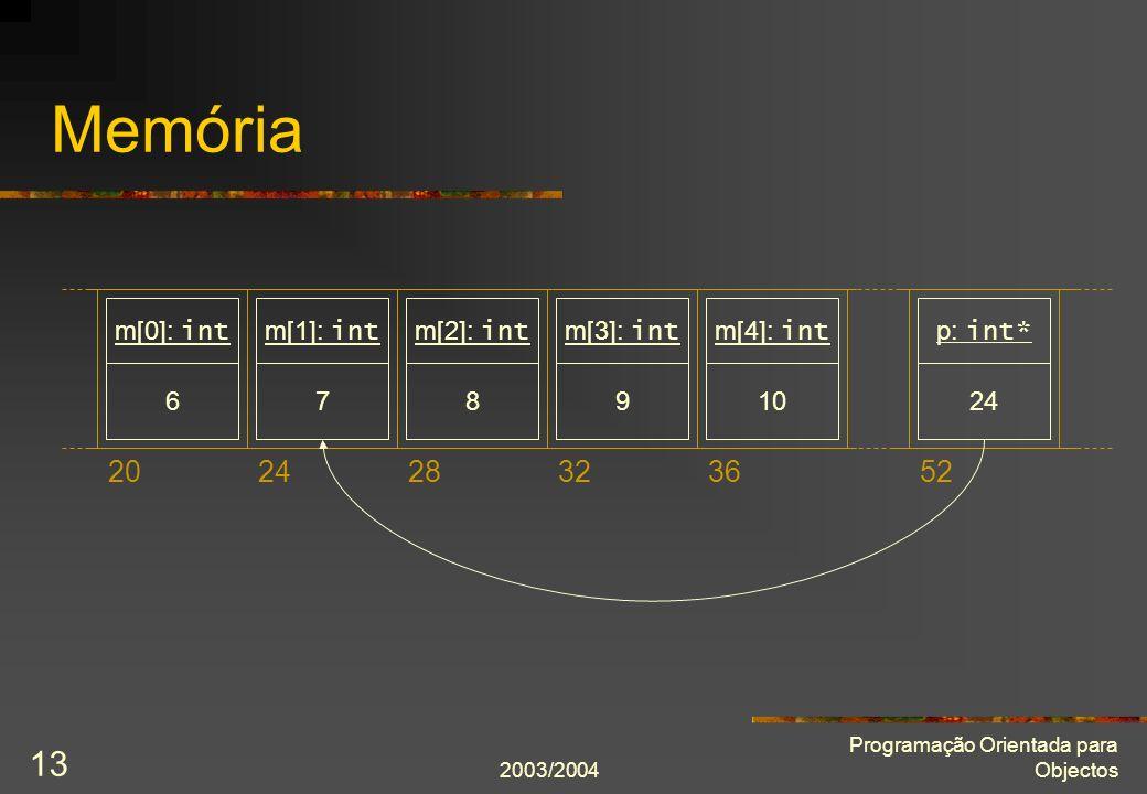 2003/2004 Programação Orientada para Objectos 13 Memória 202428323652 6 m[0]: int 7 m[1]: int 8 m[2]: int 9 m[3]: int 10 m[4]: int 24 p: int*