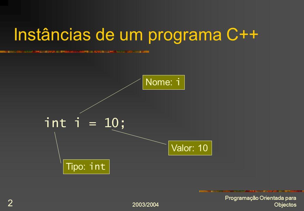 2003/2004 Programação Orientada para Objectos 23 Aluno class Aluno { public: Aluno(string const& nome =, int número = 0); string const& nome() const; int número() const; private: string nome_; int número_; }; Aluno::Aluno(string const& nome, int const número) : nome_(nome), número_(número) {} string const& Aluno::nome() const { return nome_; } int Aluno::número() const { return número_; }