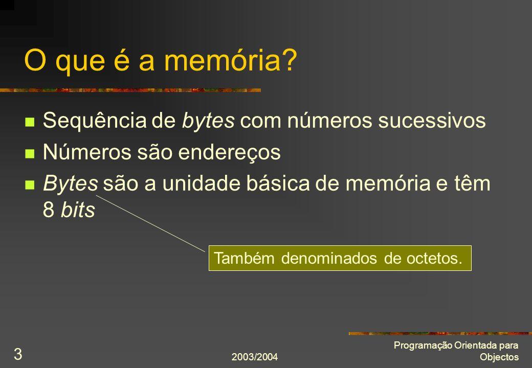 2003/2004 Programação Orientada para Objectos 14 Ponteiros e matrizes int m[5] = {6, 7, 8, 9, 10}; int* p = &m[0]; p = p + 1; *p = 20;