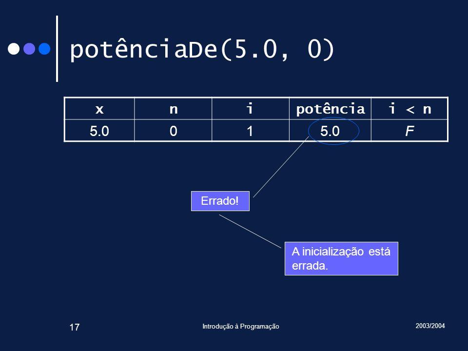 2003/2004 Introdução à Programação 17 potênciaDe(5.0, 0) xnipotênciai < n 5.001 F Errado.