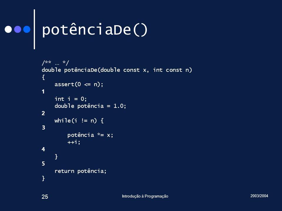 2003/2004 Introdução à Programação 25 potênciaDe() /**...