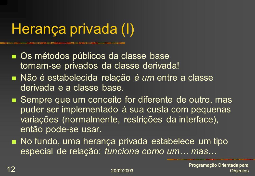 2002/2003 Programação Orientada para Objectos 12 Herança privada (I) Os métodos públicos da classe base tornam-se privados da classe derivada.