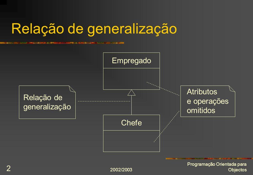 2002/2003 Programação Orientada para Objectos 2 Relação de generalização Relação de generalização Empregado Chefe Atributos e operações omitidos