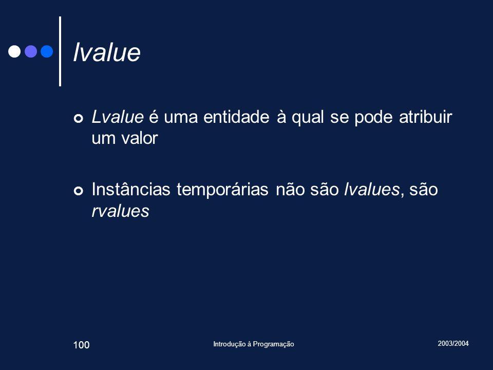 2003/2004 Introdução à Programação 100 lvalue Lvalue é uma entidade à qual se pode atribuir um valor Instâncias temporárias não são lvalues, são rvalues