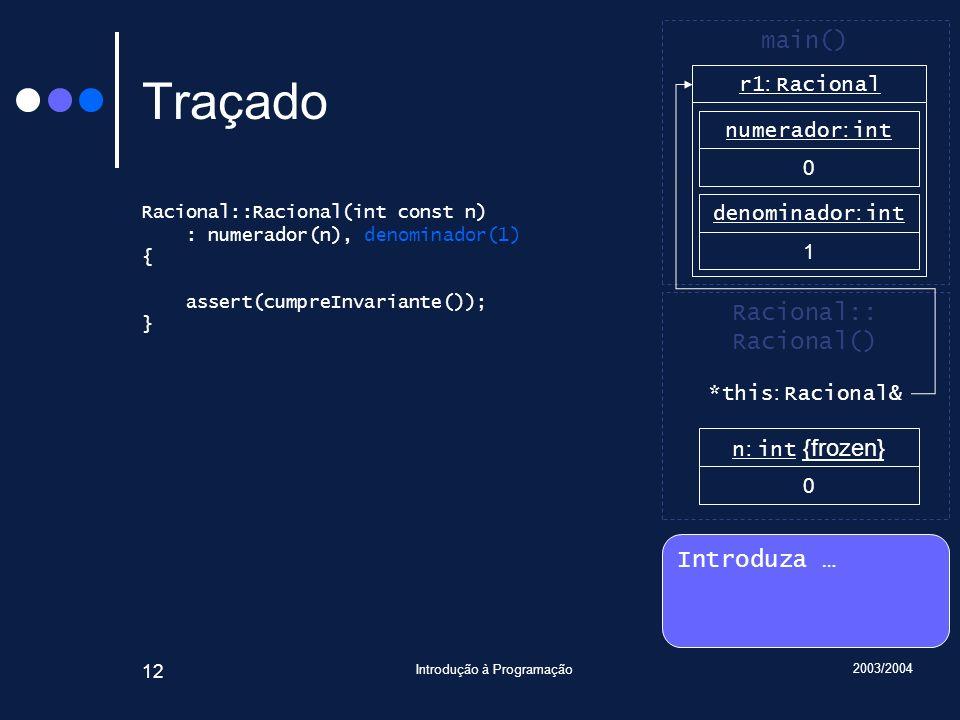 2003/2004 Introdução à Programação 12 Traçado Racional::Racional(int const n) : numerador(n), denominador(1) { assert(cumpreInvariante()); } Introduza … Racional:: Racional() main() r1 : Racional n : int {frozen} 0 numerador : int 0 denominador : int 1 *this : Racional&