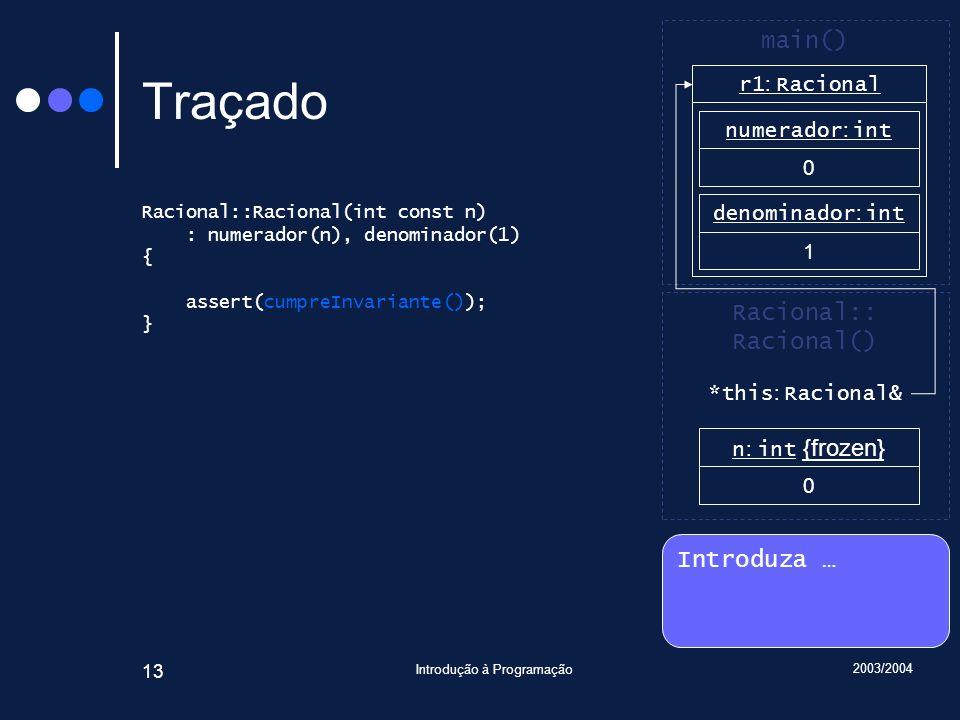 2003/2004 Introdução à Programação 13 Traçado Racional::Racional(int const n) : numerador(n), denominador(1) { assert(cumpreInvariante()); } Introduza … Racional:: Racional() main() r1 : Racional n : int {frozen} 0 numerador : int 0 denominador : int 1 *this : Racional&