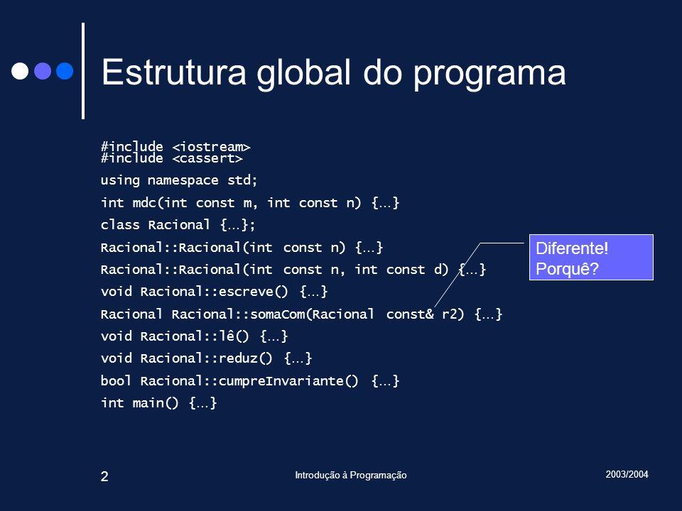 2003/2004 Introdução à Programação 53 Método Racional::operator+() Racional Racional::operator+(Racional const& r2) { assert(cumpreInvariante()); assert(r2.cumpreInvariante()); Racional r; r.numerador = numerador * r2.denominador + r2.numerador * denominador; r.denominador = denominador * r2.denominador; r.reduz(); assert(cumpreInvariante()); assert(r.cumpreInvariante()); return r; }