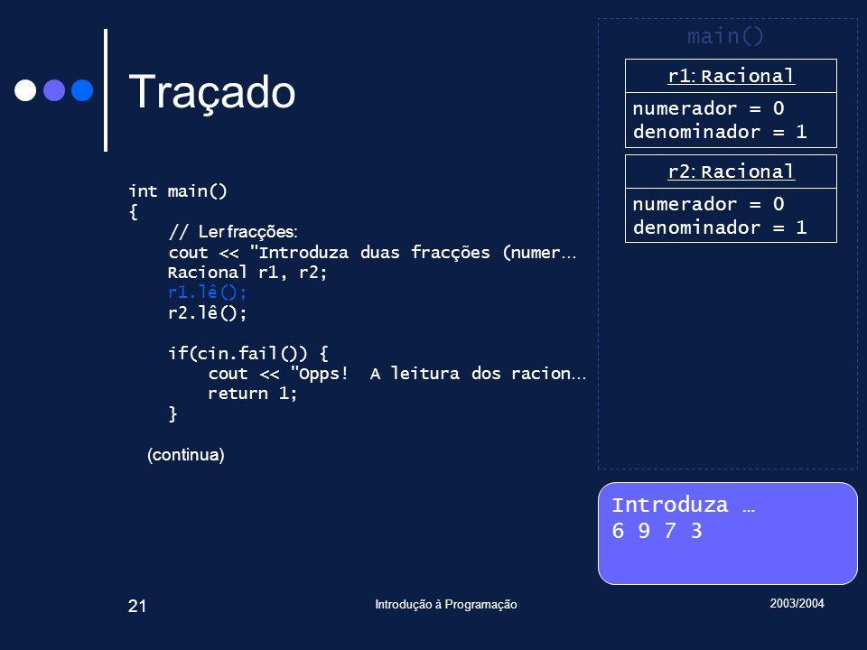 2003/2004 Introdução à Programação 21 Traçado int main() { // Ler fracções: cout << Introduza duas fracções (numer … Racional r1, r2; r1.lê(); r2.lê(); if(cin.fail()) { cout << Opps.