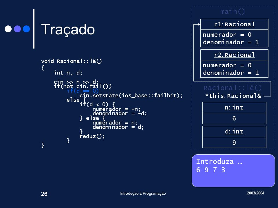 2003/2004 Introdução à Programação 26 Traçado void Racional::lê() { int n, d; cin >> n >> d; if(not cin.fail()) if(d == 0) cin.setstate(ios_base::fail