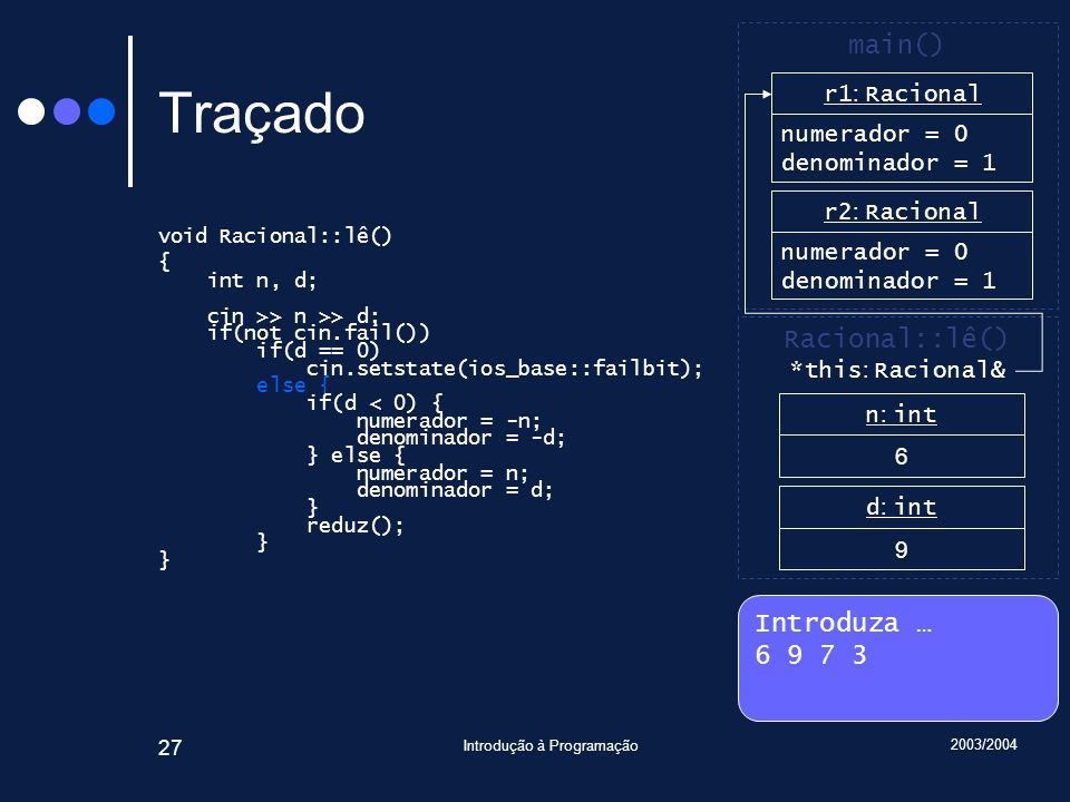 2003/2004 Introdução à Programação 27 Traçado void Racional::lê() { int n, d; cin >> n >> d; if(not cin.fail()) if(d == 0) cin.setstate(ios_base::fail