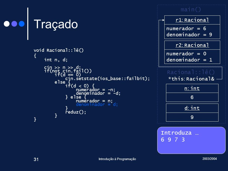 2003/2004 Introdução à Programação 31 Traçado void Racional::lê() { int n, d; cin >> n >> d; if(not cin.fail()) if(d == 0) cin.setstate(ios_base::failbit); else { if(d < 0) { numerador = -n; denominador = -d; } else { numerador = n; denominador = d; } reduz(); } Introduza … 6 9 7 3 main() r2 : Racional numerador = 0 denominador = 1 Racional::lê() n : int 6 d : int 9 *this : Racional& r1 : Racional numerador = 6 denominador = 1 r1 : Racional numerador = 6 denominador = 9