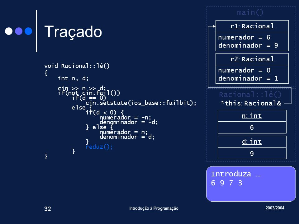 2003/2004 Introdução à Programação 32 Traçado void Racional::lê() { int n, d; cin >> n >> d; if(not cin.fail()) if(d == 0) cin.setstate(ios_base::fail