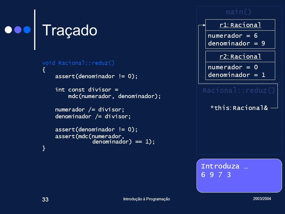 2003/2004 Introdução à Programação 33 Traçado void Racional::reduz() { assert(denominador != 0); int const divisor = mdc(numerador, denominador); numerador /= divisor; denominador /= divisor; assert(denominador != 0); assert(mdc(numerador, denominador) == 1); } Introduza … 6 9 7 3 main() r2 : Racional numerador = 0 denominador = 1 Racional::reduz() *this : Racional& r1 : Racional numerador = 6 denominador = 1 r1 : Racional numerador = 6 denominador = 9