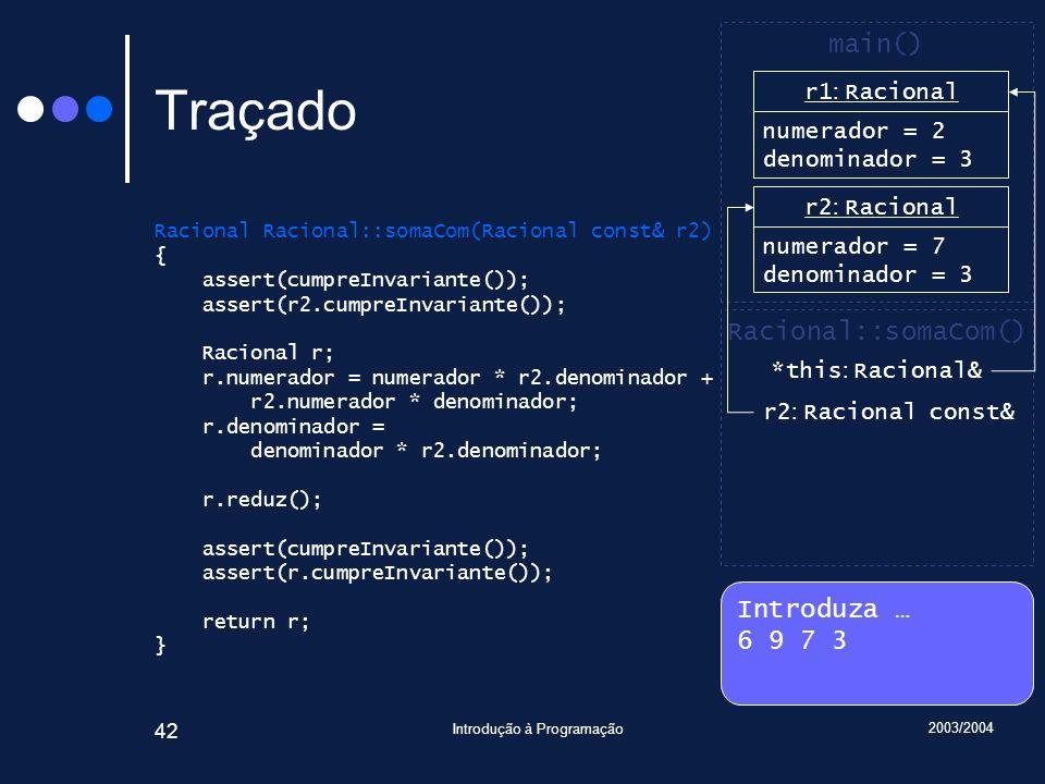 2003/2004 Introdução à Programação 42 Traçado Racional Racional::somaCom(Racional const& r2) { assert(cumpreInvariante()); assert(r2.cumpreInvariante()); Racional r; r.numerador = numerador * r2.denominador + r2.numerador * denominador; r.denominador = denominador * r2.denominador; r.reduz(); assert(cumpreInvariante()); assert(r.cumpreInvariante()); return r; } Introduza … 6 9 7 3 main() r2 : Racional numerador = 7 denominador = 3 Racional::somaCom() *this : Racional& r1 : Racional numerador = 6 denominador = 1 r1 : Racional numerador = 2 denominador = 3 r2 : Racional const&