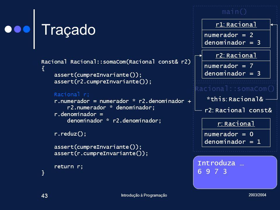 2003/2004 Introdução à Programação 43 Traçado Racional Racional::somaCom(Racional const& r2) { assert(cumpreInvariante()); assert(r2.cumpreInvariante()); Racional r; r.numerador = numerador * r2.denominador + r2.numerador * denominador; r.denominador = denominador * r2.denominador; r.reduz(); assert(cumpreInvariante()); assert(r.cumpreInvariante()); return r; } Introduza … 6 9 7 3 main() r2 : Racional numerador = 7 denominador = 3 Racional::somaCom() *this : Racional& r1 : Racional numerador = 6 denominador = 1 r1 : Racional numerador = 2 denominador = 3 r2 : Racional const& r : Racional numerador = 0 denominador = 1