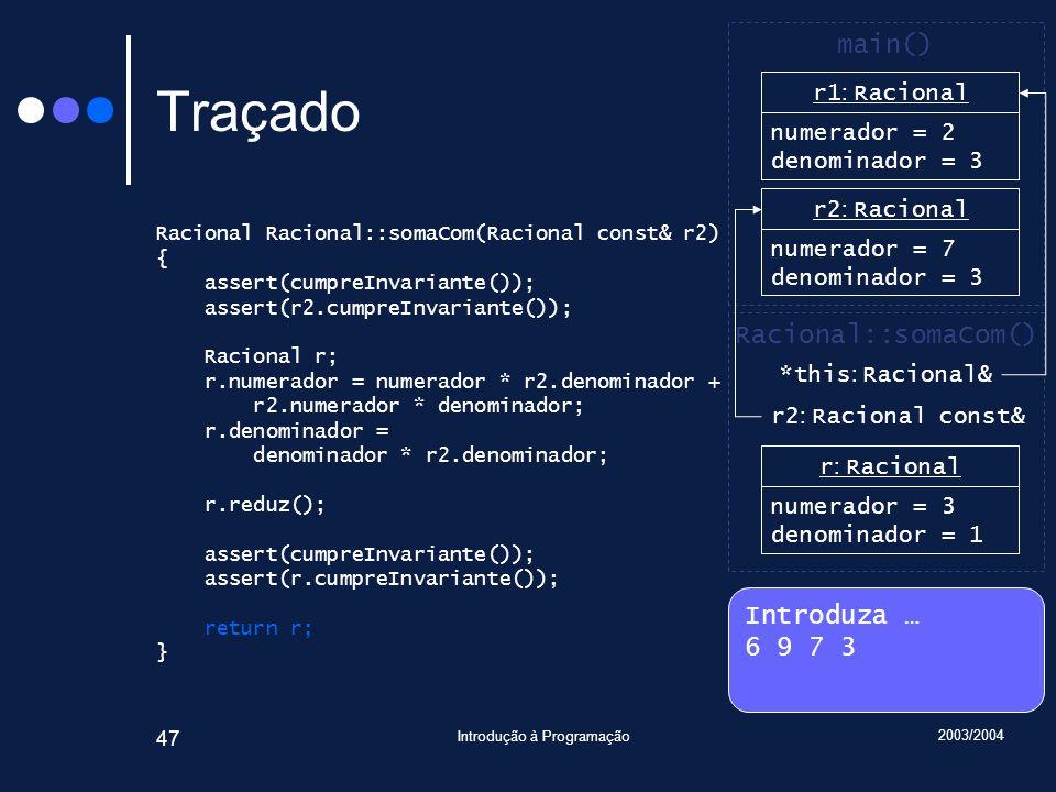 2003/2004 Introdução à Programação 47 Traçado Racional Racional::somaCom(Racional const& r2) { assert(cumpreInvariante()); assert(r2.cumpreInvariante()); Racional r; r.numerador = numerador * r2.denominador + r2.numerador * denominador; r.denominador = denominador * r2.denominador; r.reduz(); assert(cumpreInvariante()); assert(r.cumpreInvariante()); return r; } Introduza … 6 9 7 3 main() r2 : Racional numerador = 7 denominador = 3 Racional::somaCom() *this : Racional& r1 : Racional numerador = 6 denominador = 1 r1 : Racional numerador = 2 denominador = 3 r2 : Racional const& r : Racional numerador = 3 denominador = 1