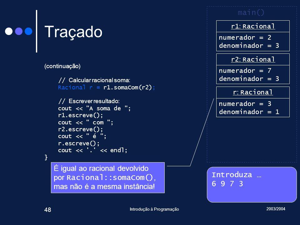 2003/2004 Introdução à Programação 48 Traçado (continuação) // Calcular racional soma: Racional r = r1.somaCom(r2); // Escrever resultado: cout << A soma de ; r1.escreve(); cout << com ; r2.escreve(); cout << é ; r.escreve(); cout << . << endl; } Introduza … 6 9 7 3 main() r1 : Racional numerador = 2 denominador = 3 r2 : Racional numerador = 7 denominador = 3 r : Racional numerador = 3 denominador = 1 É igual ao racional devolvido por Racional::somaCom(), mas não é a mesma instância!
