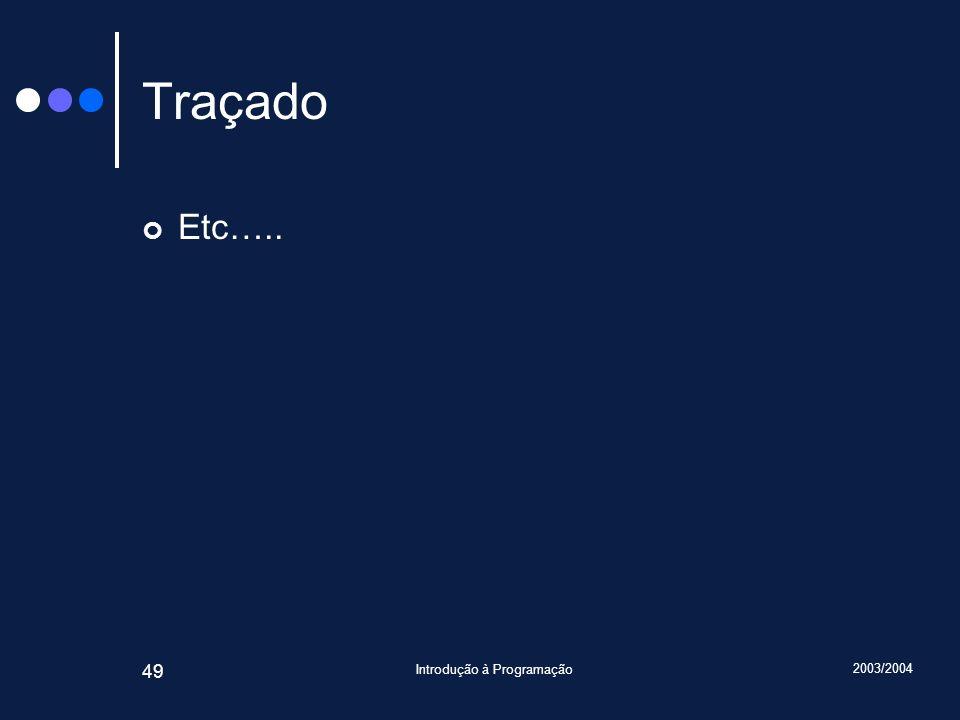 2003/2004 Introdução à Programação 49 Traçado Etc…..