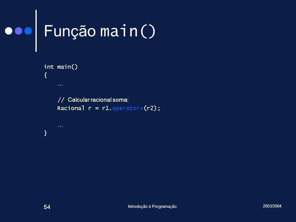 2003/2004 Introdução à Programação 54 Função main() int main() { … // Calcular racional soma: Racional r = r1.operator+(r2); … }
