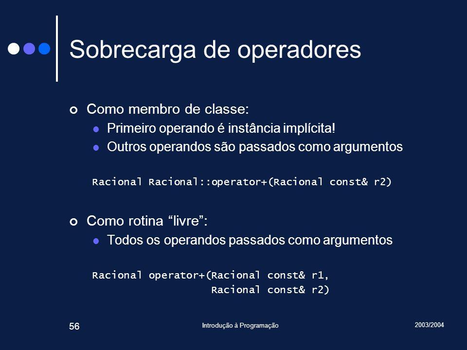 2003/2004 Introdução à Programação 56 Sobrecarga de operadores Como membro de classe: Primeiro operando é instância implícita.