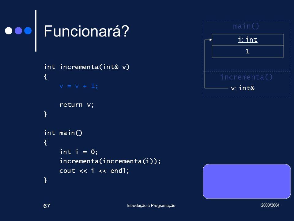 2003/2004 Introdução à Programação 67 Funcionará.