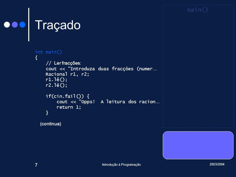 2003/2004 Introdução à Programação 38 Traçado void Racional::lê() { int n, d; cin >> n >> d; if(not cin.fail()) if(d == 0) cin.setstate(ios_base::failbit); else { if(d < 0) { numerador = -n; denominador = -d; } else { numerador = n; denominador = d; } reduz(); } Introduza … 6 9 7 3 main() r2 : Racional numerador = 0 denominador = 1 Racional::lê() n : int 6 d : int 9 *this : Racional& r1 : Racional numerador = 6 denominador = 1 r1 : Racional numerador = 2 denominador = 3