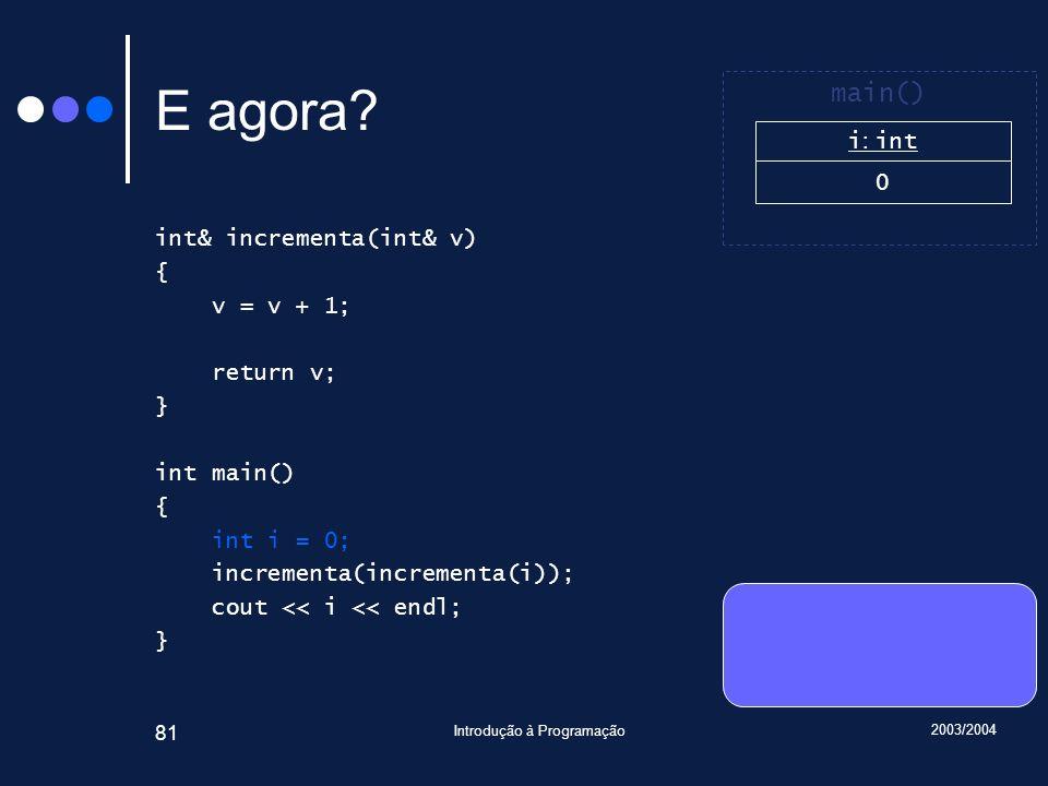 2003/2004 Introdução à Programação 81 E agora.