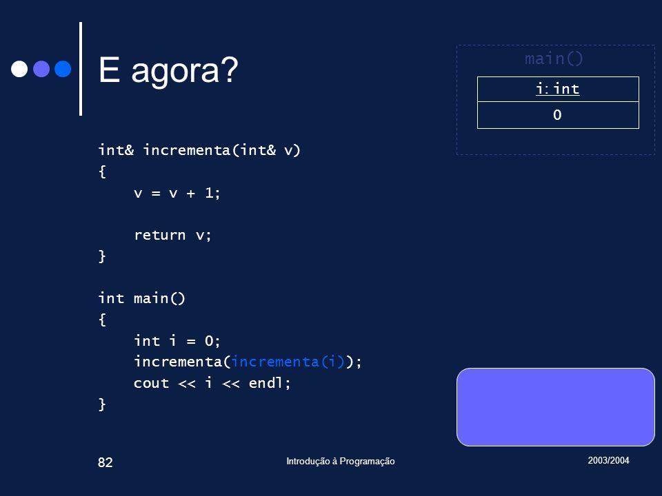 2003/2004 Introdução à Programação 82 E agora.